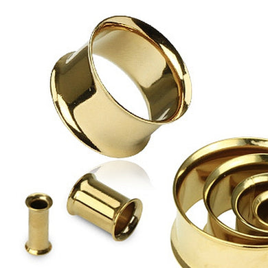 Flesh Tunnel double Flared Gold plated PVD Chirurgenstahl