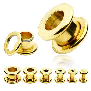 Flesh Tunnel Gold Plated Ohr Plug