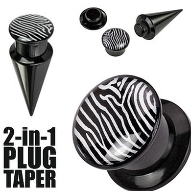 Plug/Taper 2-in1 mit Zebra Motive