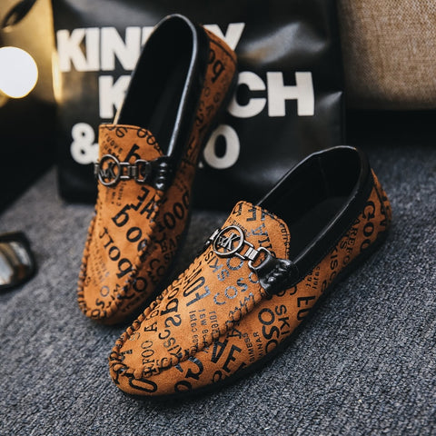 Style Men's Loafers with Letter Print