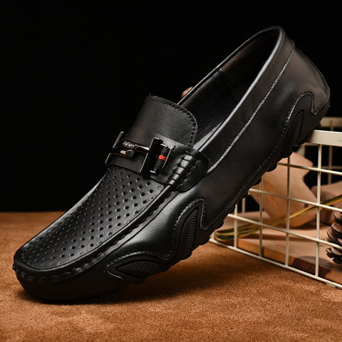 Real Leather Mens Loafers with Breathable Holes