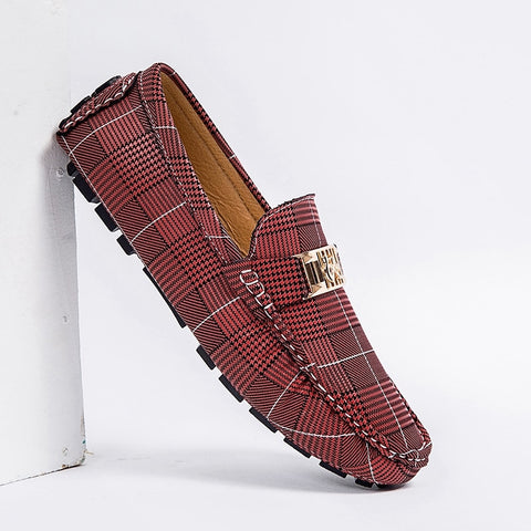 Plaid Penny Loafers Men's Flats Footwear