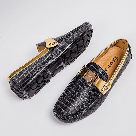 Black Snakeskin Print Penny Loafers with Gold Buckle