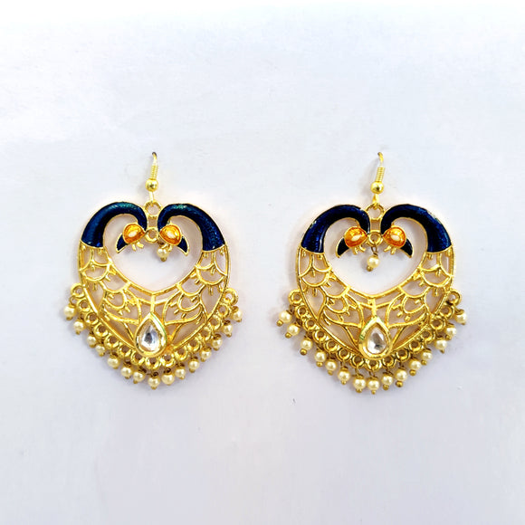 Handpainted Meenakari Kundan Dangle Two Peacock Design Earrings for Girls - Golden