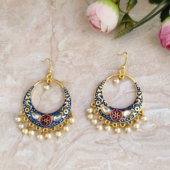 Handpainted Meenakari Dangle Earrings for Girls - Blue