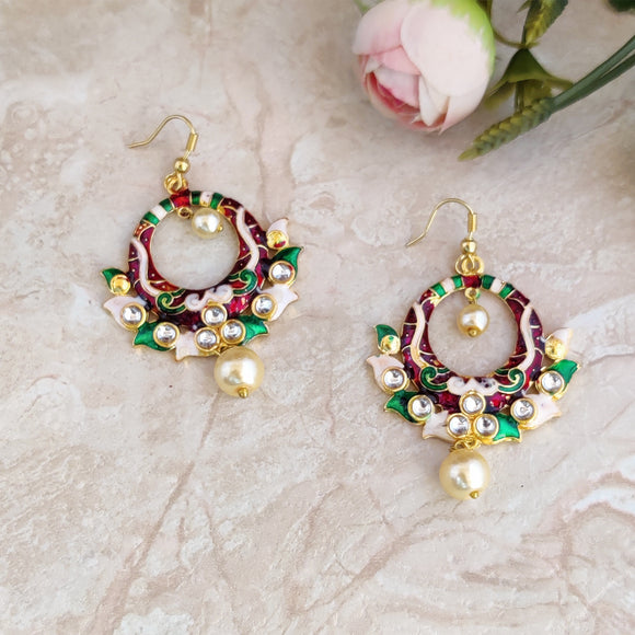 Handpainted Meenakari Small Round Dangle Earrings for Girls - Multicolor