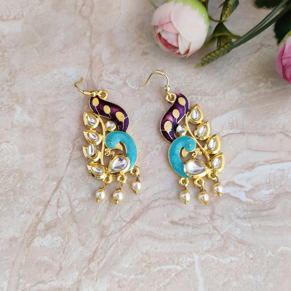 Handpainted Meenakari Peacock Dangle Earrings for Girls - Blue
