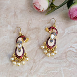 Handpainted Meenakari Peacock Dangle Earrings for Girls - Multicolor