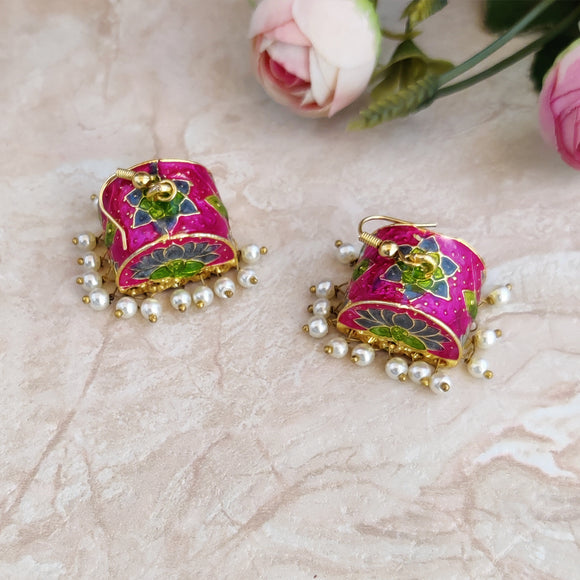 Handpainted Meenakari Palki Dangle Earrings for Girls - Pink