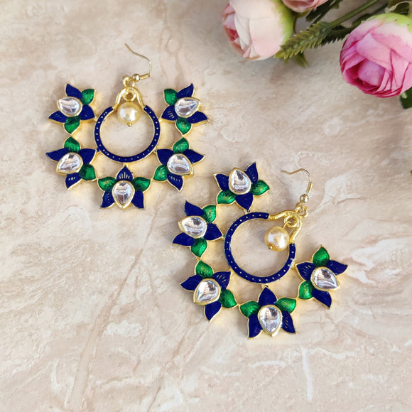 Handpainted Meenakari Kundan Dangle for Girls - Navy Blue