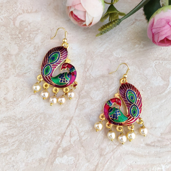 Handpainted Meenakari Peacock Dangle Earrings for Girls - Maroon