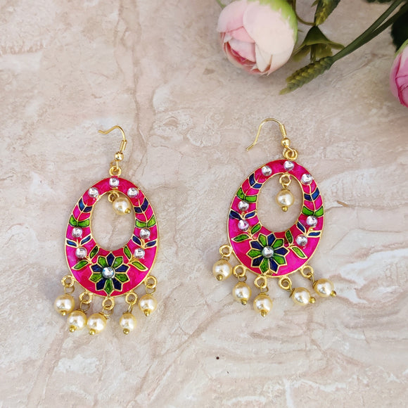 Handpainted Meenakari Drop SHape Dangle Earrings for Girls - Pink