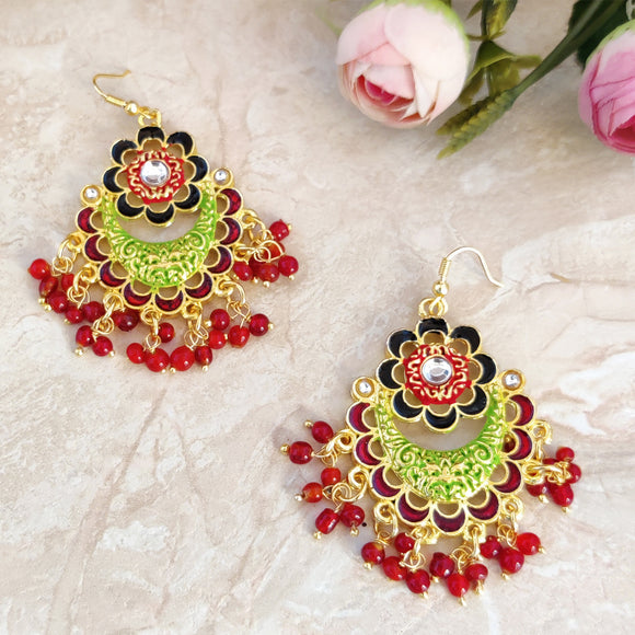 Handpainted Meenakari Floral Dangle Earrings for Girls - Multicolor
