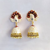 Handpainted Meenakari Keri Buta jhumki Earrings for Girls - White
