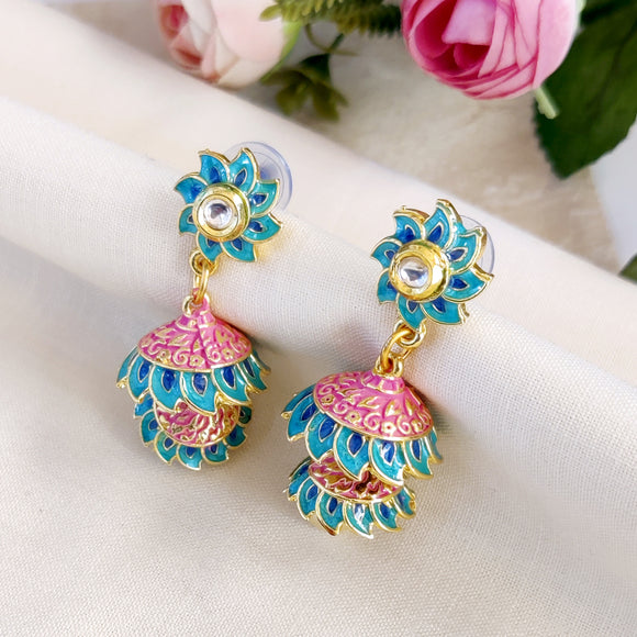 Handpainted Meenakari Jumki in Floral Design for Girls - Blue & Pink