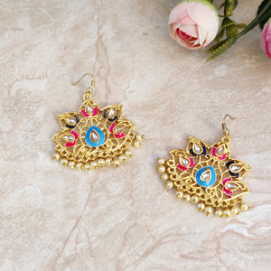 Handpainted Meenakari Dangle Earrings for Girls - Multicolor