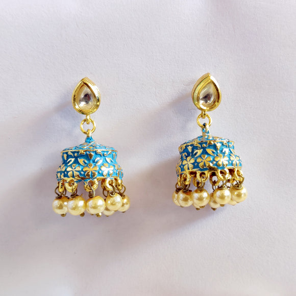 Handpainted Meenakari Jumki with Pearls for Girls - Blue