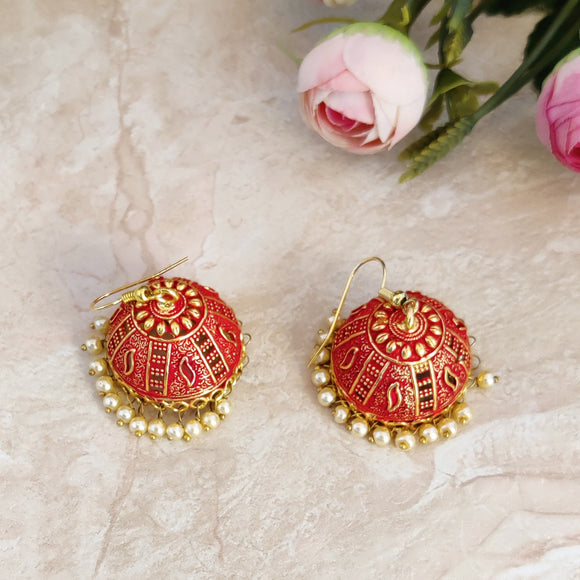 Handpainted Meenakari jhumki Earrings for Girls - Pink