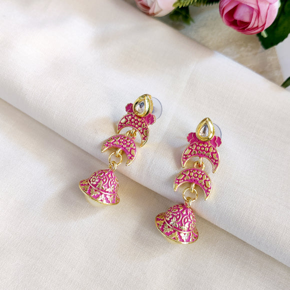 Handpainted Meenakari Jumki Earrings with Pearl for Girls - Pink