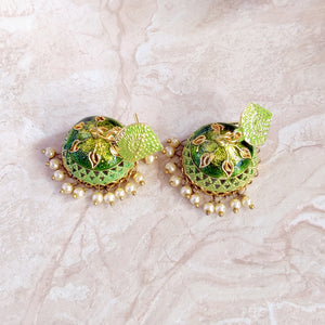 Handpainted Meenakari jhumki Earrings for Girls - Green