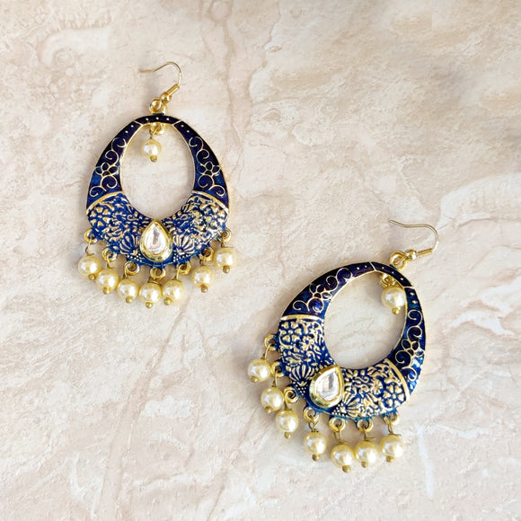 Handpainted Meenakari Kundan Dangle Earrings for Girls - Blue