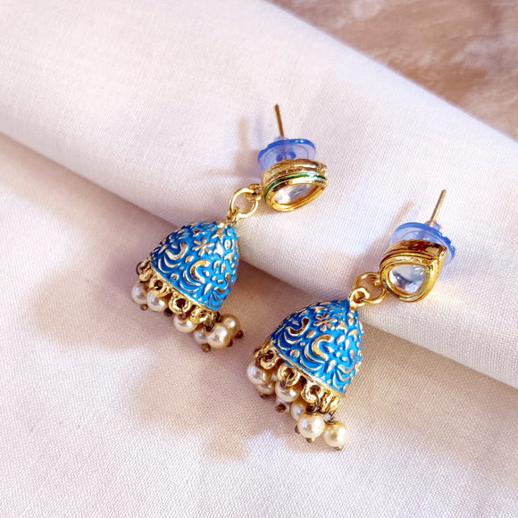 Handpainted Meenakari jhumki Earrings for Girls - Blue