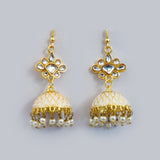 Handpainted Meenakari jhumki Earrings for Girls - White