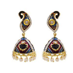 Trendy Red And Blue Meenakari Work American Diamond Meenakari Jhumki