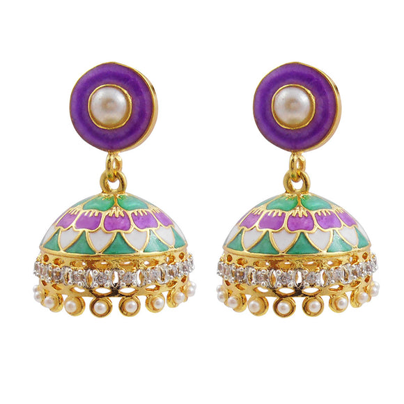 Elegant American Diamond Meenakari Jhumki With Mint Green And Purple Meenakari Work