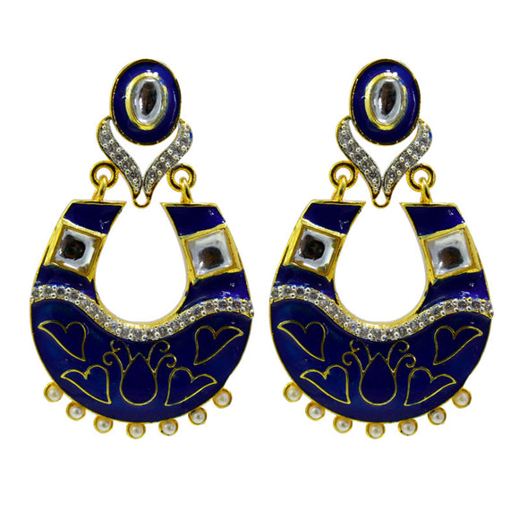 Pretty Royal Blue AD American Diamond Meenakari Chandbali With Pearls For Women