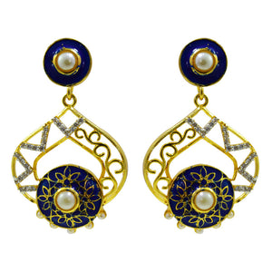 Eternal Royal Blue American Diamond Earrings For Women And Girls