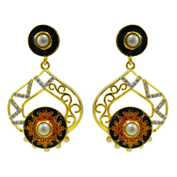 Black Color Meenakari And American Diamond Bali Earrings For Women And Girls