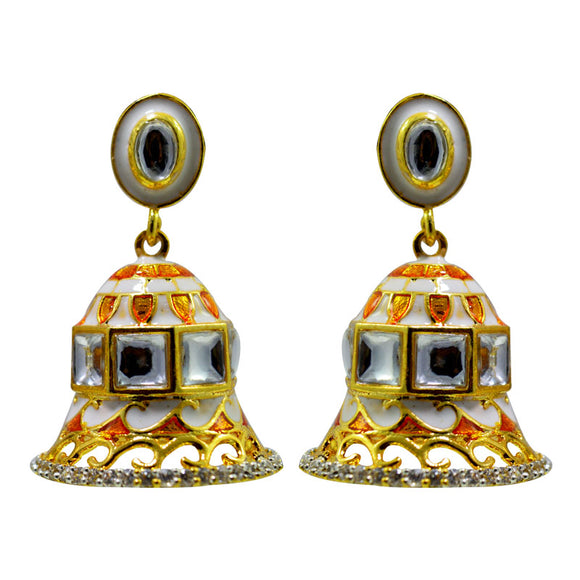 Meenakari And American Diamond Traditional Jhumki Earrings For Women And Girls