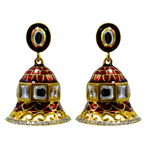 Classic Maroon Meenakari And American Diamond Earrings For Women And Girls