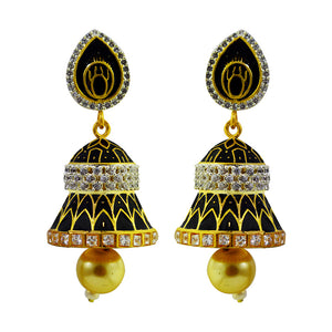Black Color Meena And American Diamond Combination Jhumki Earrings For Women And Girls