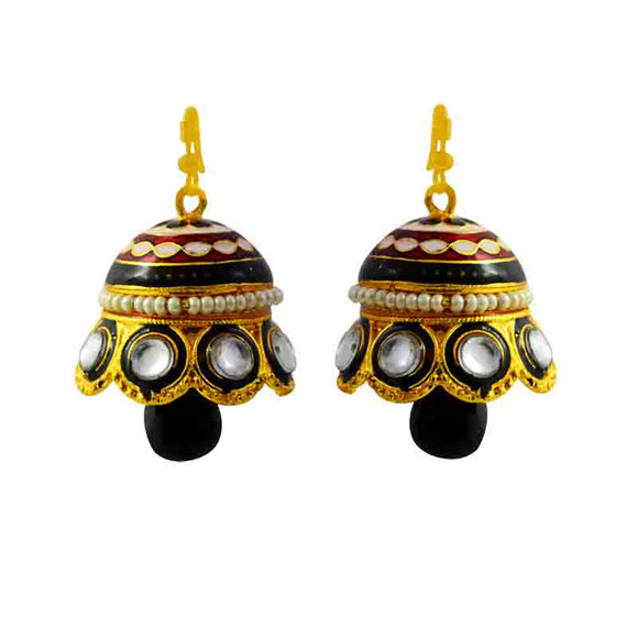 Kundan Meenakari Pearl Jhumki Earrings Black