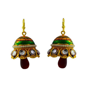 Kundan Meenakari Pearl Jhumki Earrings Green