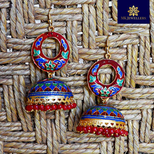 Kundan Meena Bali Jhumki Dome Pattern Earring Red Multi