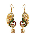 Kundan Meenakari Peacock Bali Dangler Earrings Red Green