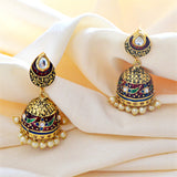 Kundan Meenakari Jhumki Earrings Flower Design Maroon