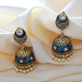 Kundan Meenakari Jhumki Earrings Flower Design Blue