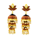 Kundan Mate Jhumki Triple Layer Earrings Maroon Black