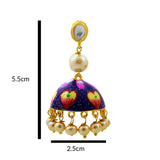 Handpainted Kundan Jhumki Pearl Earrings Dark Blue