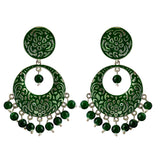 Kundan Meenakari Bali Circular Shape Earrings Dark Green