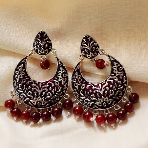 Fancy German Silver Oxidized Bali Earrings Maroon