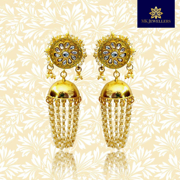 Moti Ganthan With Stone Latkan Hoop Jhumka Earrings Golden