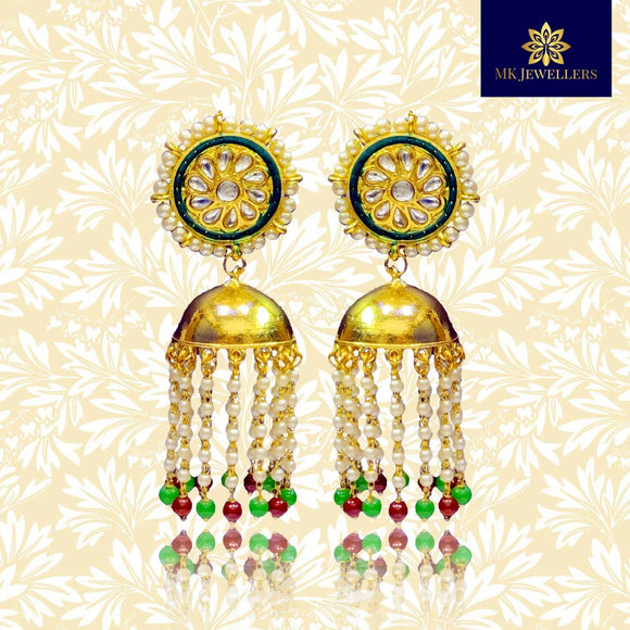 Kundan Meena Lotus Latkan Earrings Gold Plated Pearl Drop Earrings