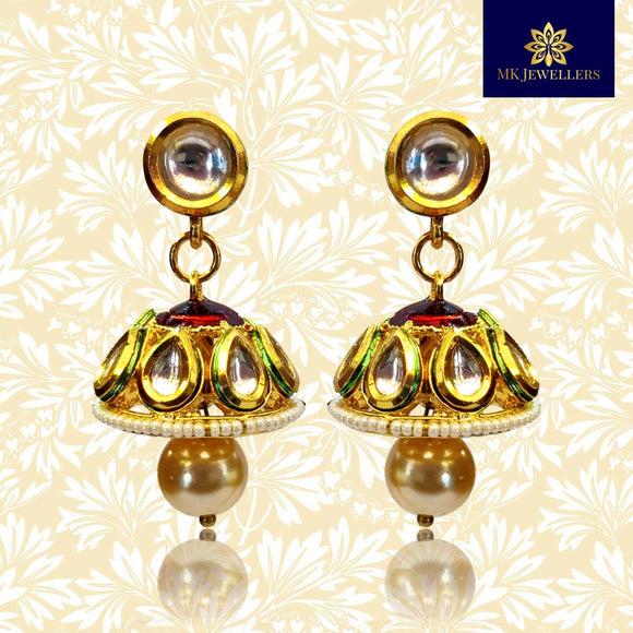 Kundan Meenakari Jhumki Earrings Golden