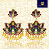 Meenakari Floral Latkan Pearl Brass Jhumki Earrings Red