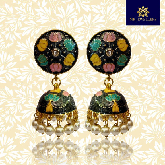 Kundan Meenakari Lotus Gold Plated Jhumka Drop Earrings Black